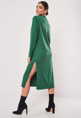 Missguided Green Basic Long Sleeve Midi T Shirt Dress