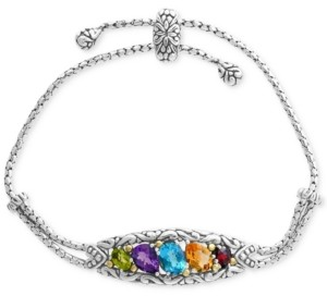 Effy Multi-Gemstone Bolo Bracelet (4-7/8 ct. t.w.) in Sterling Silver & 18k Gold