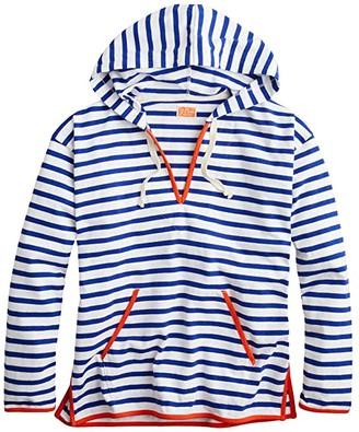 J.Crew V-Neck Hoodie in Stripe (Tammy Stripe Oxford White) Women's Clothing