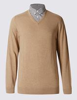 M&S Collection Cotton Rich Mock Shirt Jumper