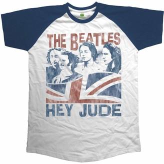 Unknown The Beatles Men's Hey Jude Windswept Raglan T-Shirt Blue (Navy) XX-Large