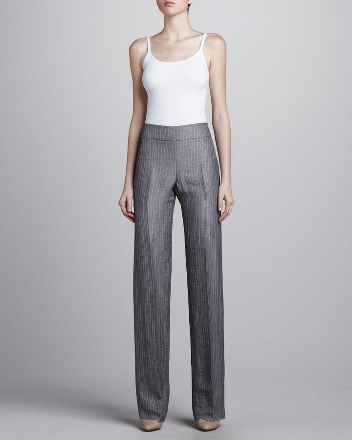 Armani Collezioni Techno Linen Striped Pants