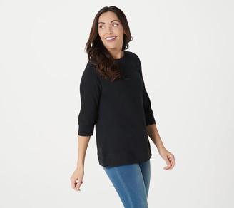 Denim & Co. Essentials Perfect Jersey Boatneck 3/4 Sleeve Top
