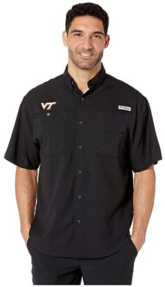 Columbia College Virginia Tech Hokies Collegiate Tamiamitm II Short Sleeve Shirt (Black) Men's Short Sleeve Button Up