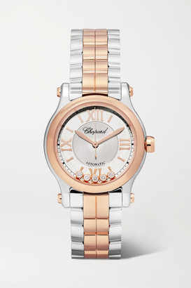 Chopard Happy Sport Automatic 30mm 18-karat Rose Gold, Stainless Steel And Diamond Watch - Silver