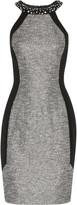 Badgley Mischka Winter embellished metallic bouclé-tweed and crepe dress