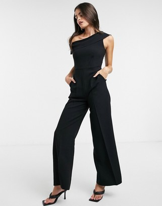 Closet London off shoulder jumpsuit in black