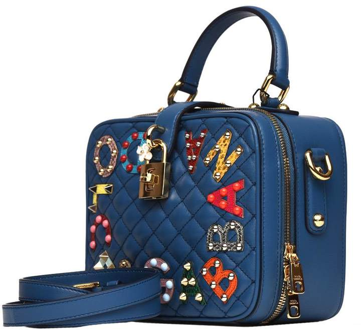Dolce & Gabbana Dolce Soft Bag In Blue Matelasse' Nappa Leather