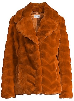 Milly Chevron Collared Furry Coat