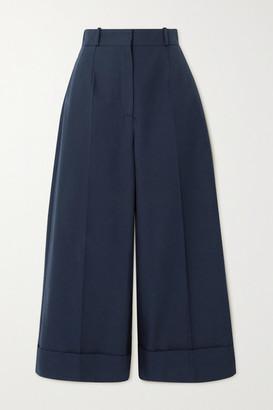 Alexander McQueen - Cropped Cotton Wide-leg Pants - Navy