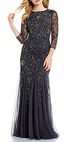 Adrianna Papell Beaded Round Neck Mermaid Gown