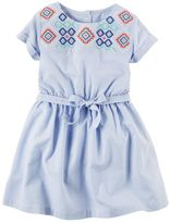 Carter's Toddler Girl Embroidered Yoke Striped Shirt Dress