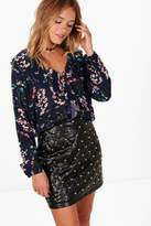 boohoo Nadia Woven Floral Ruffle Front Blouse