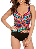 Miraclesuit Night Lights Layered Escape Notched V-Neck Underwire One Piece