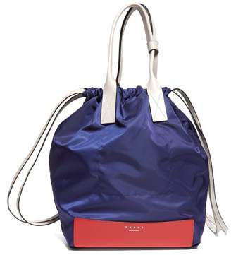 Marni Pedestal Leather-trimmed Backpack - Womens - Blue Multi