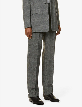 Rag & Bone Rylie check-print tapered high-rise stretch-cotton trousers