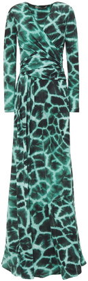 Roberto Cavalli Wrap-effect Printed Stretch-jersey Maxi Dress
