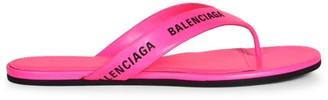Balenciaga Logo Leather Thong Sandals