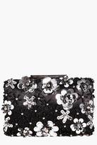 Boohoo Eva Boutique 3D Floral Embellished Clutch Bag