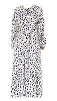 Tibi Cheetah on Hammered Satin Sculpted Sleeve Dress