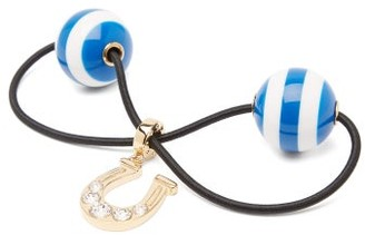 Miu Miu Crystal-horseshoe Striped-bauble Hair Tie - Blue Stripe