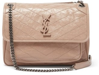 Saint Laurent Niki Medium plaque Leather Shoulder Bag - Nude