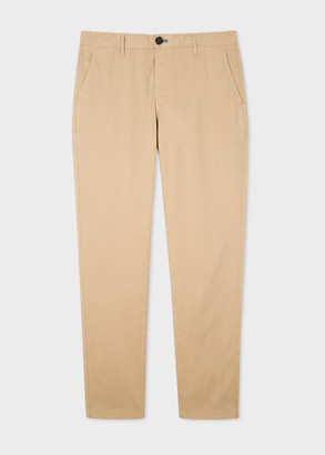 Men's Slim-Fit Beige Stretch Pima-Cotton Chinos