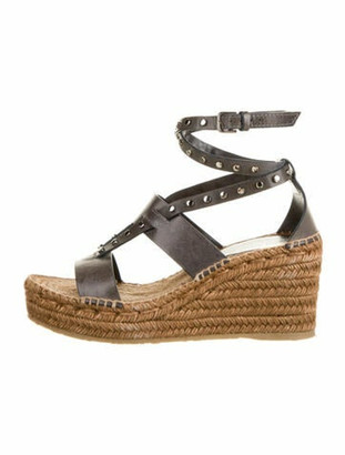 Jimmy Choo Leather Studded Accents Espadrilles Black