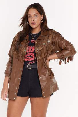 Nasty Gal Womens Fringe Binge Snake Plus Jacket - Brown - 4, Brown