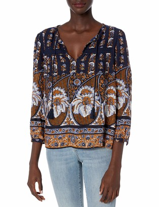 Lucky Brand Women's Printed Laura Lace Peasant Top