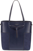 Tory Burch Block-T Leather Bucket Tote Bag, True Navy