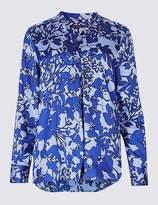 Marks and Spencer Floral Print Flared Sleeve Slash Neck Tunic