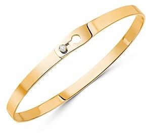 Dinh Van 18K Yellow Gold Serrure Bangle Bracelet with Diamonds