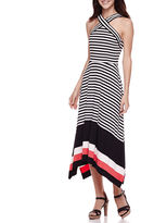 Robbie Bee Sleeveless Cross Neck Stripe Maxi Dress