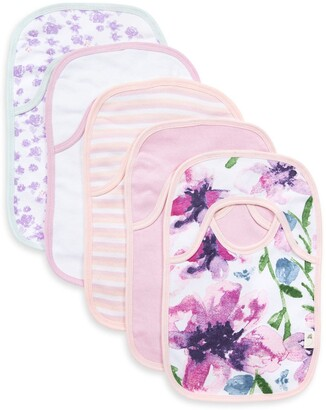Burt's Bees Watercolor Daylily Organic Baby Pull On 5 Pack Bibs