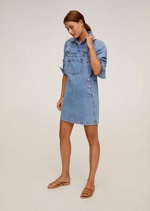 MANGO Pocket denim pinafore dress medium blue - 2 - Women