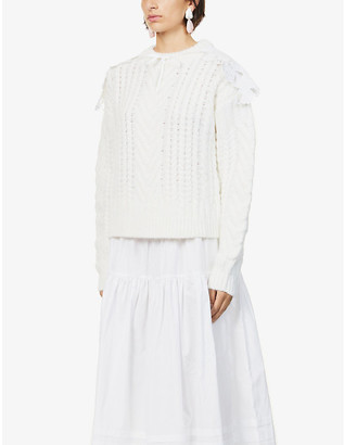 Cecilie Bahnsen Monse floral-embroidered wool-blend jumper