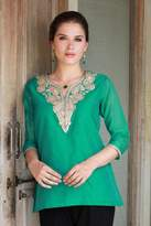 Sea Green Silk and Cotton Tunic with Golden Embroidery, 'Sea Princess'