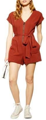 Topshop Linen Zipper Tie Front Short Jumpsuit