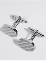 M&S Collection Oval Striped Cufflinks
