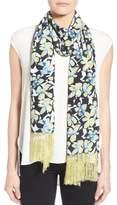 Badgley Mischka Women's Floral Print Fringe Silk Scarf