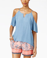 Thalia Sodi Chambray Cold-Shoulder Top, Only at Macy's