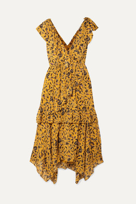 Ulla Johnson Dania Ruffled Floral-print Silk, Cotton And Lurex-blend Midi Dress - Yellow