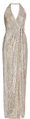 Halston Sequin Halter Gown