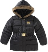 Juicy Couture Black Puffer Faux Fur Trim Hooded Jacket (Little Girls)