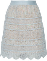 Zimmermann Bell Flared Paneled Crochet And Broderie Anglaise Organza Mini Skirt