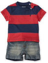 Ralph Lauren Striped Jersey Tee w/ Faded Shorts, Red/Blue, Size 9-24 Months