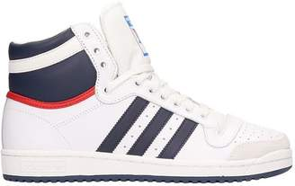 adidas White And Blue Leather Top Ten Hi Sneakers