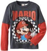 Nintendo Boys 8-20 Mario Crewneck Long Sleeve Doubler Shirt