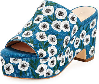 Loeffler Randall Amara Embroidered Denim Mule Sandals, Blue Pattern